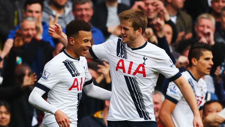 LONDON, ENGLAND - APRIL 10:  Dele Alli of Tottenham Hotspur celebrates with Eric Dier as he scores their first goal during the Barclays Premier League matc