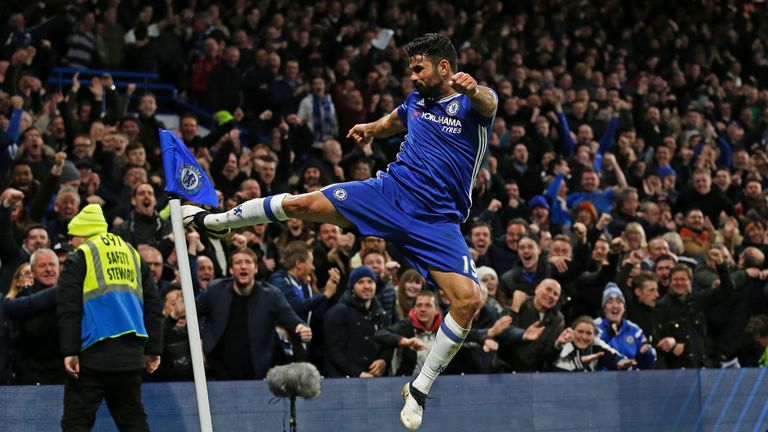 Diego Costa celebrates scoring Chelsea's fourth goal in a 4-2 win at Stamford Bridge
