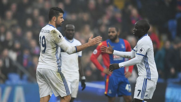LONDON, ENGLAND - DECEMBER 17: Diego Costa of Chelsea (L) celebrates scoring his sides first goal with N'Golo Kante of Chelsea (R) during the Premier Leagu