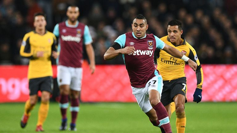 Dimitri Payet in action for West Ham against Arsenal earlier this month