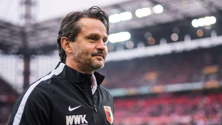 COLOGNE, GERMANY - NOVEMBER 26: Head Coach Dirk Schuster of Augsburg is seen prior to the Bundesliga match between 1. FC Koeln and FC Augsburg at RheinEner