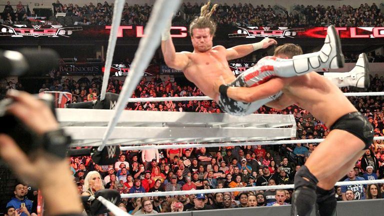 Dolph Ziggler is thrown into a ladder by The Miz