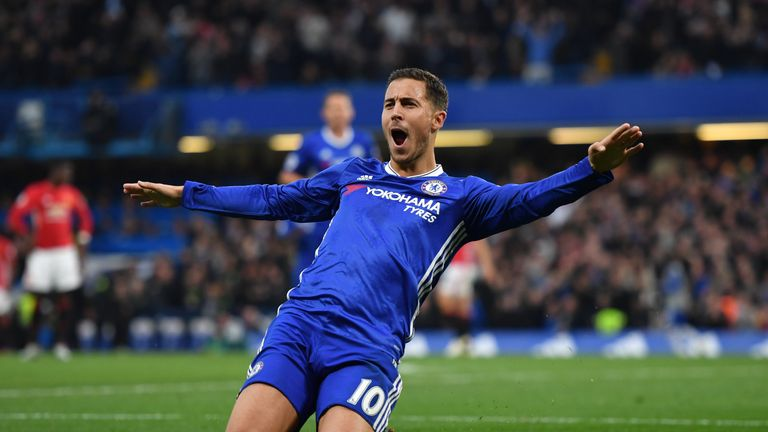LONDON, ENGLAND - OCTOBER 23:  Eden Hazard of Chelsea celebrates scoring his sides third goal during the Premier League match between Chelsea and Mancheste