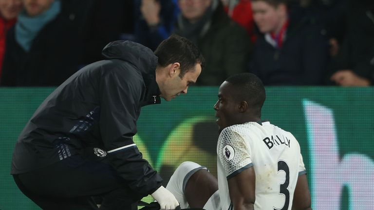 Eric Bailly's receives attention during the match between Crystal Palace and Manchester United