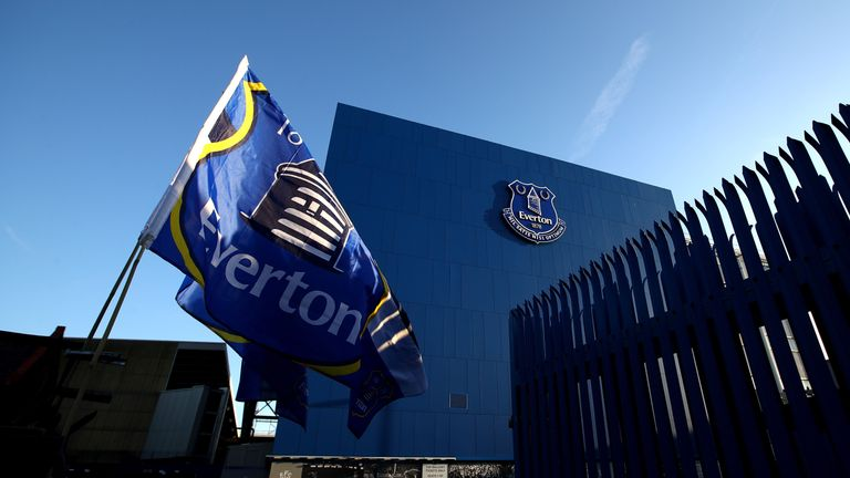 A general view from outside the stadium prior to the Premier League match between Everton and Manchester United at Goodison Park