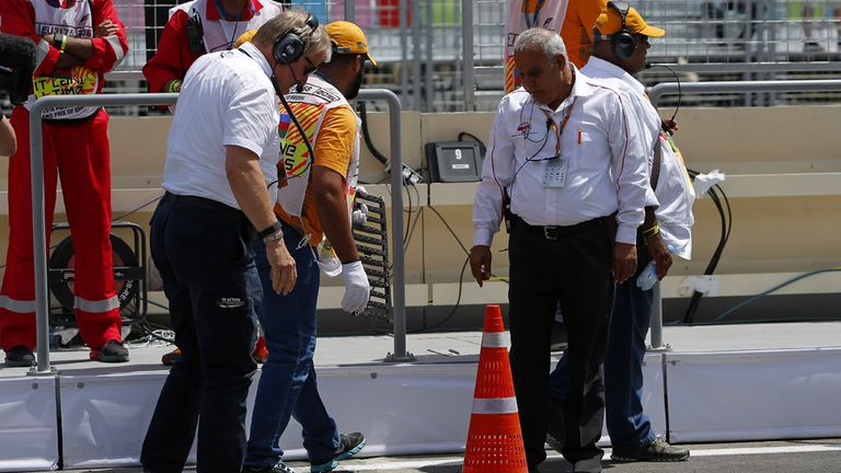 F1 gets technical as a plastic cone comes to the rescue when a drain cover comes loose in the Baku pitlane - Picture from Sutton Images