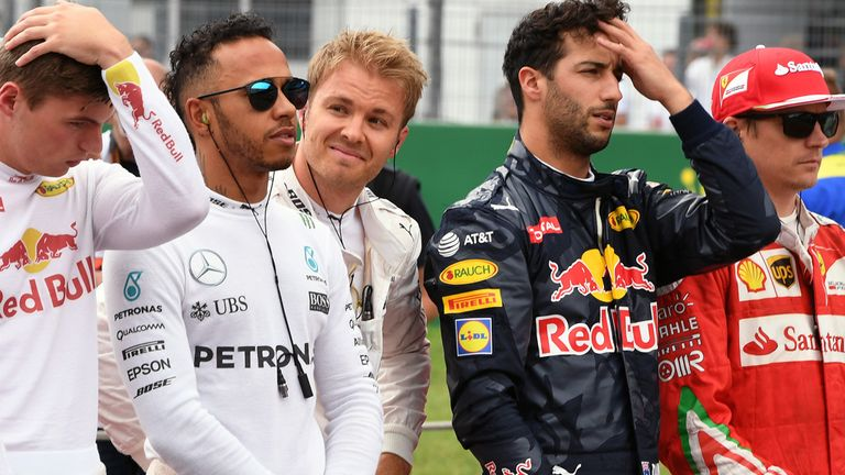 Nico Rosberg takes a close look at Lewis Hamilton ahead of the German GP - Picture from Sutton Images