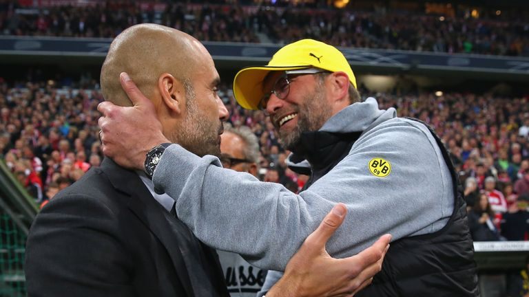 Pep Guardiola exchanges pleasantries with Jurgen Klopp during their Bundesliga days