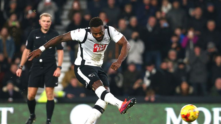 Darren Bent converts his penalty to give Derby a 1-0 lead against Birmingham