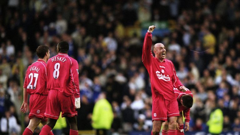 16 Apr 2001:  Gary McAllister of Liverpool celebrates his amazing winner during the FA Carling Premiership match against Everton played at Goodison Park, i