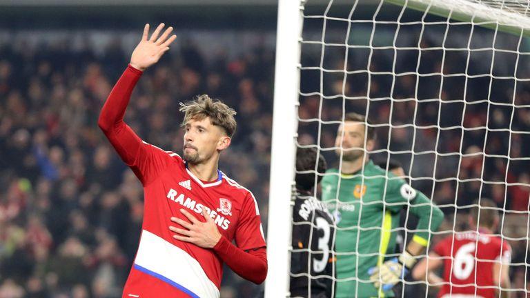 Ramirez celebrates after scoring against Hull