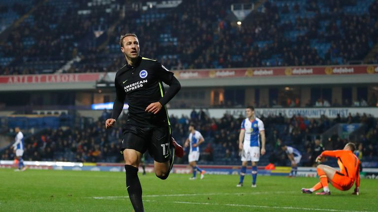 Brighton and Hove Albion's Glenn Murray celebrates scoring his teams 3rd goal against Blackburn Rovers, during the Sky Bet Championship match at Ewood Park