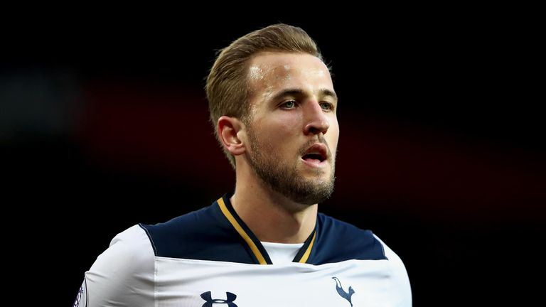 Harry Kane in action during the Premier League match against Manchester United