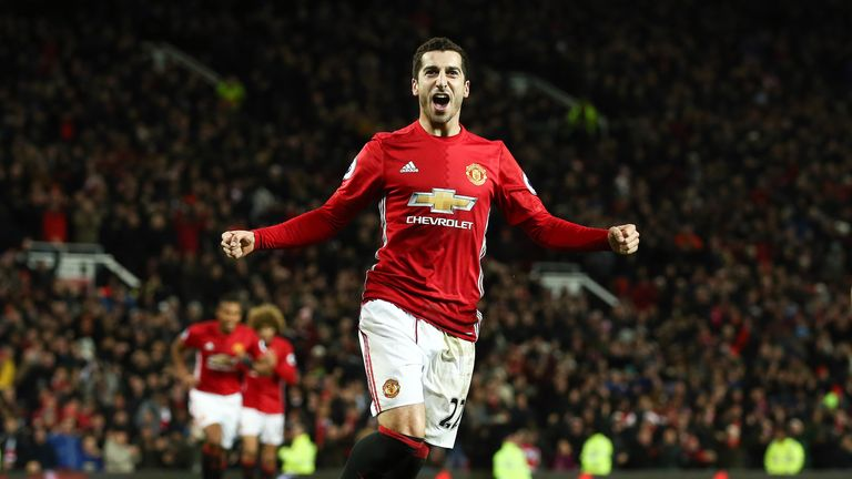 Henrikh Mkhitaryan celebrates after giving Manchester United a 3-0 lead