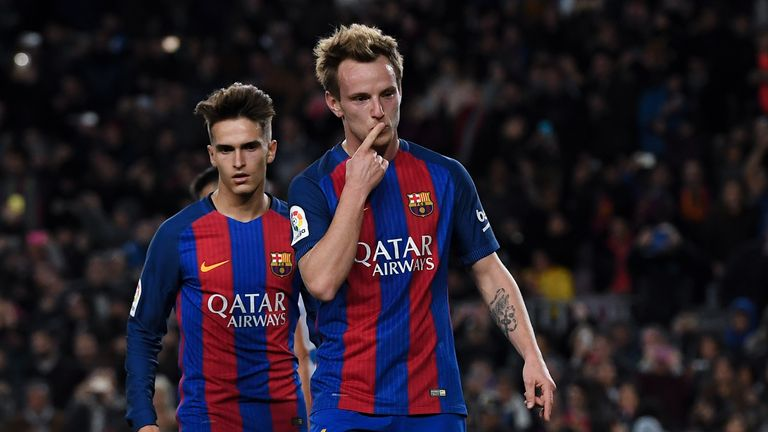 BARCELONA, SPAIN - DECEMBER 21:  Ivan Rakitic of FC Barcelona celebrates after scoring from the penalty spot his team's second goal during the Copa del Rey