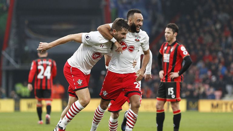 Jay Rodriguez celebrates with team-mate Nathan Redmond after scoring his second goal