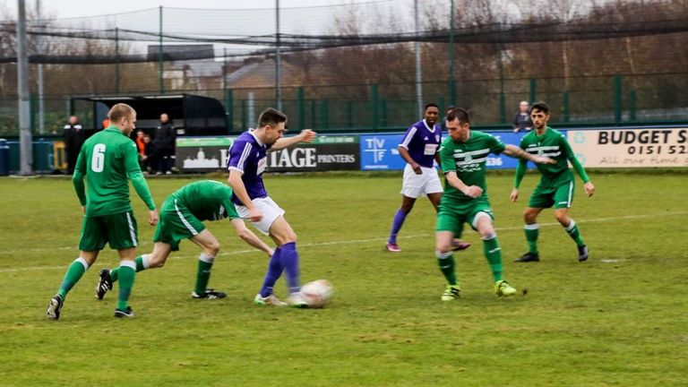 John Connolly scores for the Purples - image courtesy of www.johnmiddletonphoto.co.uk