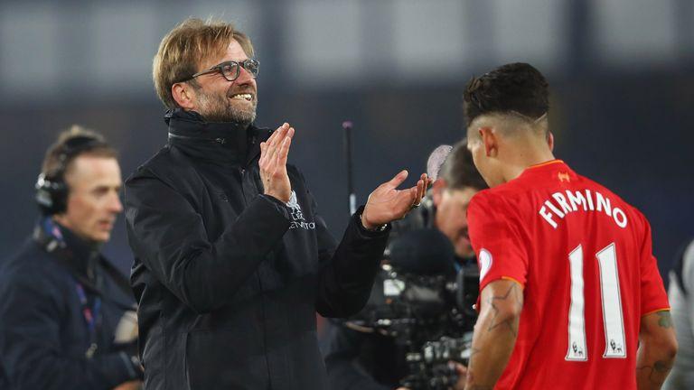Jurgen Klopp celebrates Liverpool's latest Premier League win at Everton