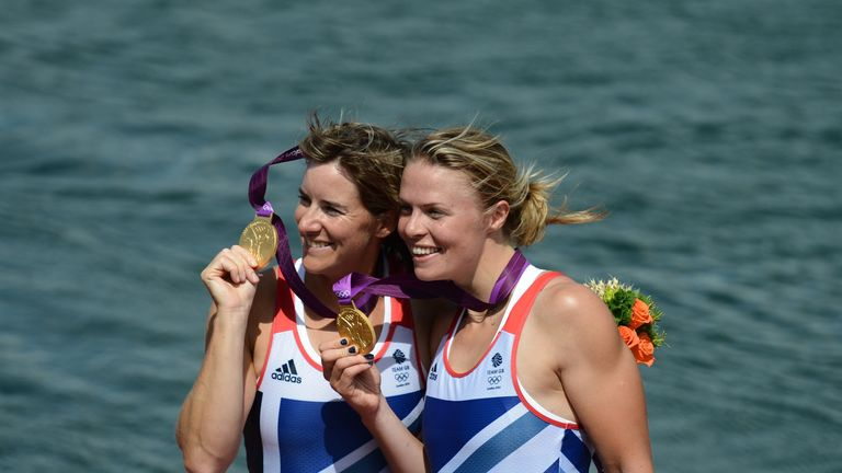 Great Britain's Anna Watkins (R) and Katherine Grainger won the gold medal in the women's double sculls at London 2012