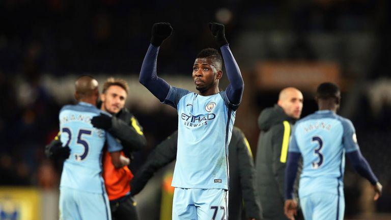 Kelechi Iheanacho celebrates after Manchester City take all three points at the KCOM  Stadium