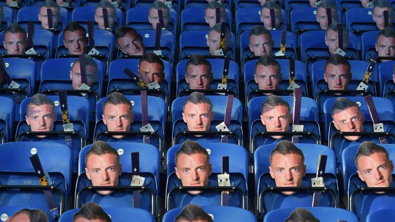 Jamie Vardy masks are left on the seats ahead of the match at King Power