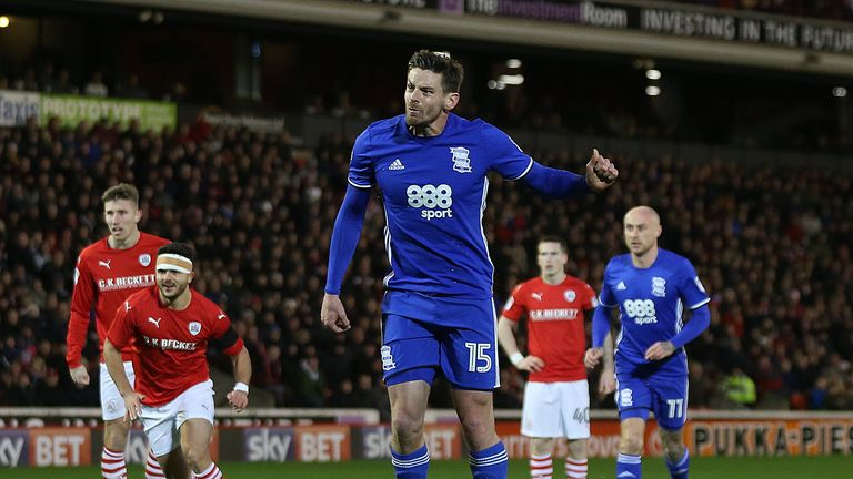 Birmingham City's Lukas Jutkiewicz scores his penalty to equalise against Barnsley