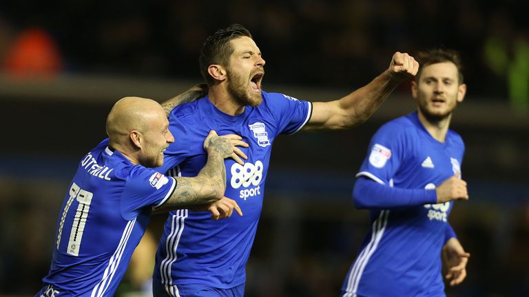 Birmingham City's Lukas Jutkiewicz celebrates scoring his side's first goal of the game v Brighton during the Sky Bet Championship match at St Andrew's