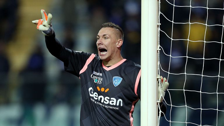 EMPOLI, ITALY - FEBRUARY 27: Lukasz Skorupski of Empoli FC in action during the Serie A match between Empoli FC and AS Roma at Stadio Carlo Castellani on F