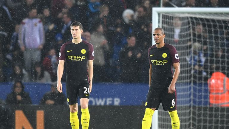 City players look dejected during their 4-2 defeat by Leicester