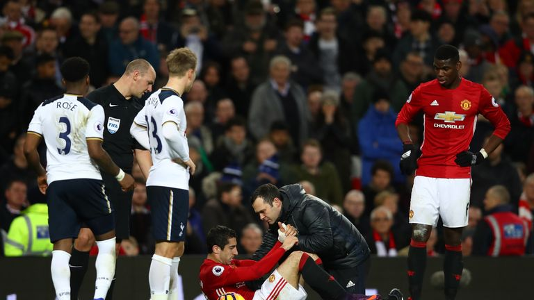 Mkhitaryan was taken off in the 85th minute after picking up an ankle injury