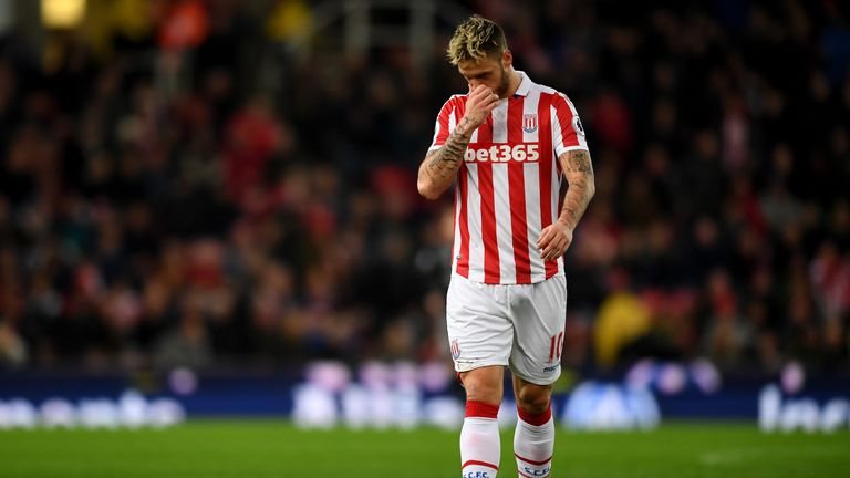 Marko Arnautovic walks off the pitch after being sent off