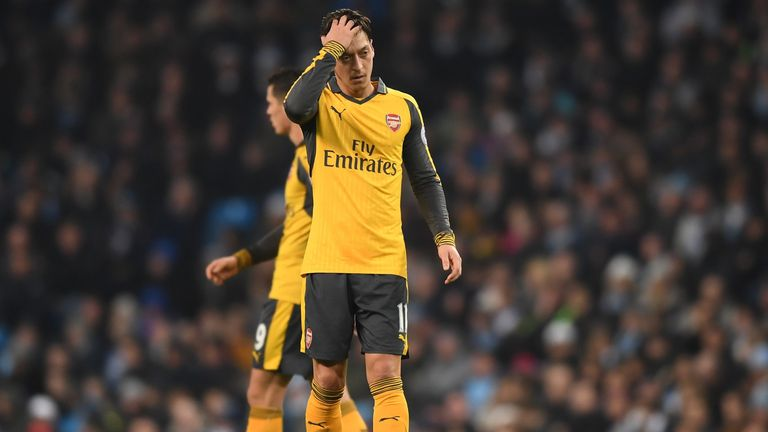 Mesut Ozil's performance in Arsenal's defeat at Manchester City was criticised by some supporters