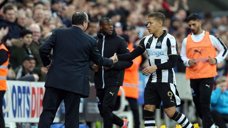 Rafael Benitez congratulates hat-trick hero Dwight Gayle