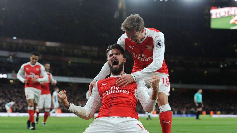 Olivier Giroud celebrates after scoring Arsenal's winner against West Brom