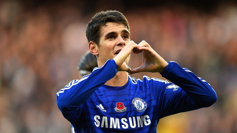 LONDON, ENGLAND - NOVEMBER 1: Oscar of Chelsea celebrates scoring the opening goal during the Barclays Premier League match between Chelsea and Queens Park