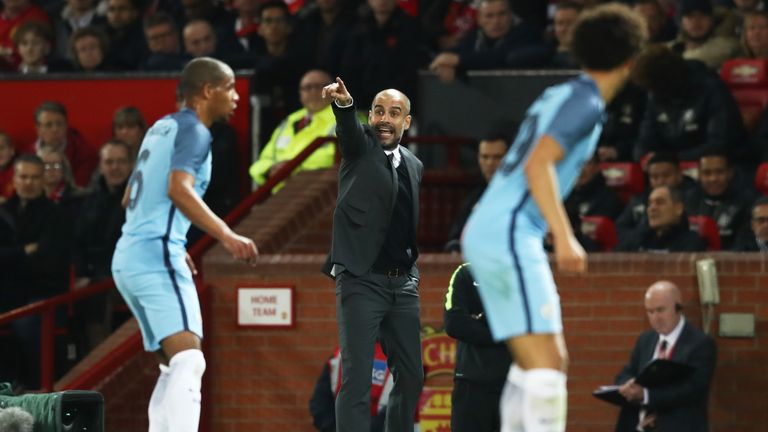 Guardiola issues instructions from the touchline