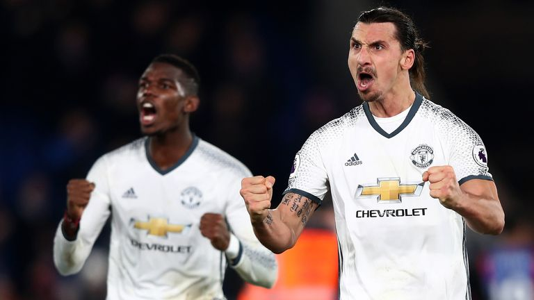 LONDON, ENGLAND - DECEMBER 14:  Zlatan Ibrahimovic (2nd R) of Manchester United celebrates his team's win after the Premier League match between Crystal Pa