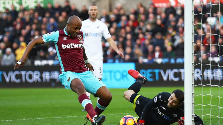 Andre Ayew scores the opening goal for West Ham
