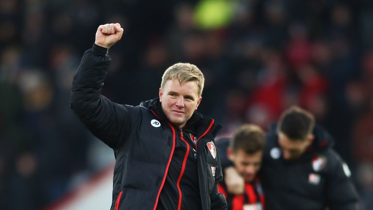 BOURNEMOUTH, ENGLAND - DECEMBER 04:  Eddie Howe manager of AFC Bournemouth celebrates victory after the Premier League match between AFC Bournemouth and Li