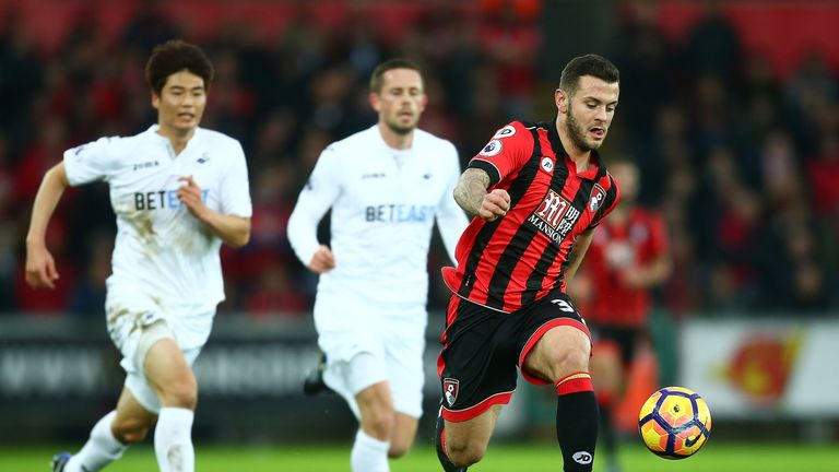 Jack Wilshere surges forwards for Bournemouth at the Liberty Stadium