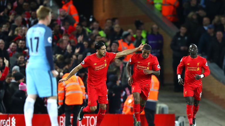 Georginio Wijnaldum celebrates his early goal with team-mates