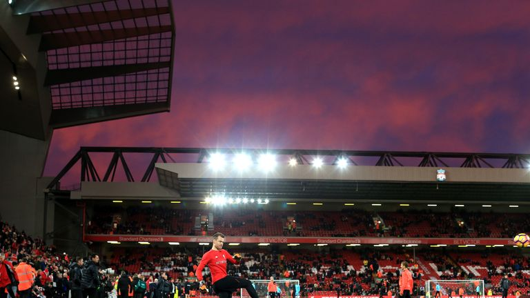 LIVERPOOL, ENGLAND - DECEMBER 11: Liverpool players warm up prior to the Premier League match between Liverpool and West Ham United at Anfield on December