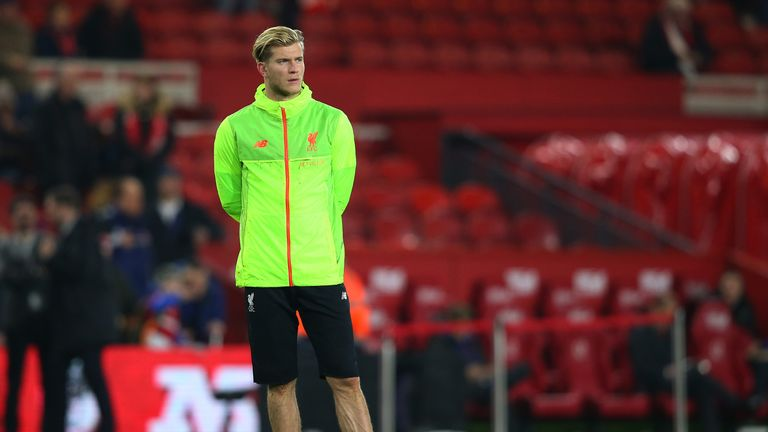 Loris Karius looks on during the warm up after being dropped to the Liverpool bench