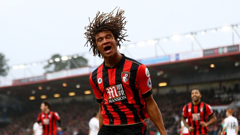 Nathan Ake celebrates after scoring the opening goal of the game