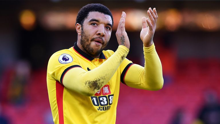 Troy Deeney applauds the fans as he leaves the pitch