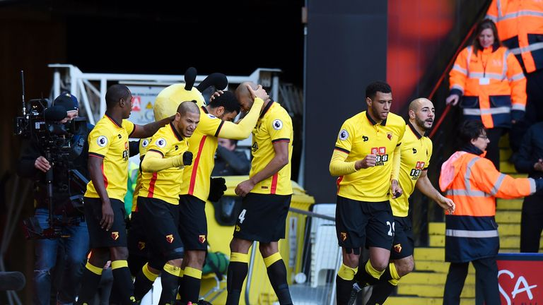 Troy Deeney celebrates scoring Watford's equaliser against Crystal Palace