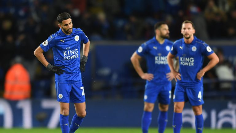 LEICESTER, ENGLAND - DECEMBER 26:  a dejected Riyad Mahrez (L) of Leicester City and teammates look on during the Premier League match between Leicester Ci