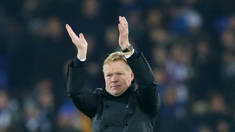 LIVERPOOL, ENGLAND - DECEMBER 13:  Ronald Koeman, Manager of Everton applauds the fans following his team's 2-1 victory during the Premier League match bet