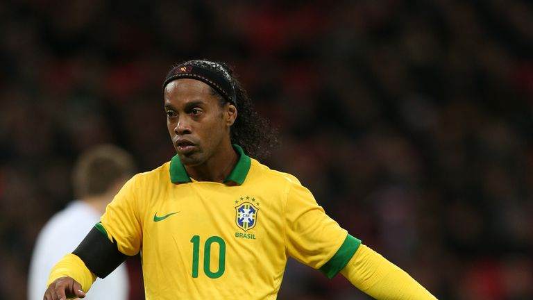 Ronaldinho of Brazil in action during the International friendly between England and Brazil at Wembley
