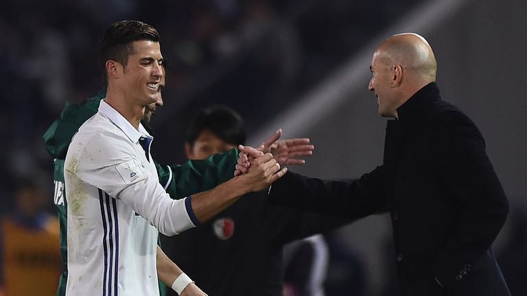 Ronaldo shakes hands with coach Zinedine Zidane after Real secured victory